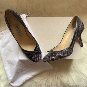 Authentic JIMMY CHOO Tweed Bow Wild Berry Pumps